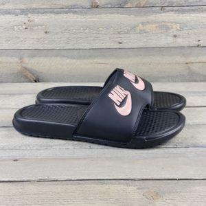 Nike Benassi JDI Slides Sandals Black/Rose  NEW